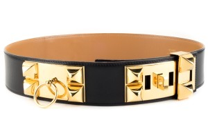 Hermès Hermes black courchevel leather 'Collier De Chien' belt