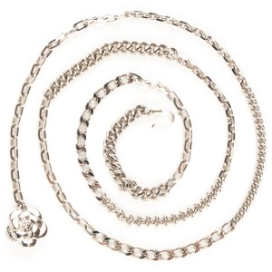 Chanel Chanel silver-tone multi chain belt with flower medallion