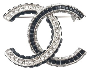 Chanel Chanel Brand New 2017 Runway Black Silver CC Black Crystal Brooch
