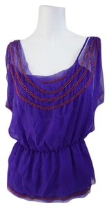 Diane von Furstenberg Dvf Wrap Designer Ezmeralda Beaded Top Purple