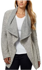 Blanc Noir Tweed Draped Open Front Marled Bnci Cardigan