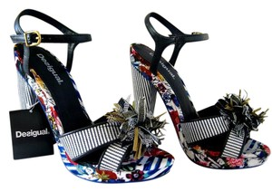 Desigual Floral European Fancy Heel Sandal Black Blue Platforms