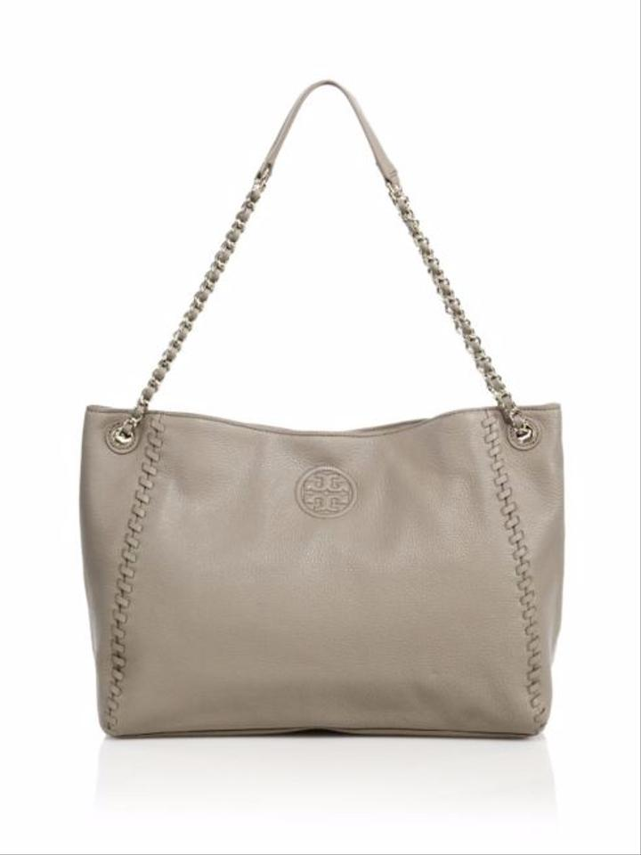 c756ee6e40f Tory Burch Marion Chain French Grey Leather Shoulder Bag - Tradesy