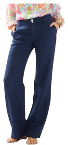 Lilly Pulitzer Linen Casual Preppy Lilly Trouser Pants Navy Blue