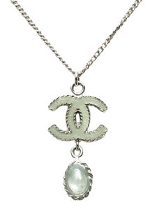 Chanel Mint Green Drop CC necklace