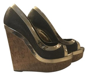 Adrienne Maloof Metallic New Black and gold Wedges