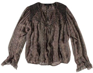 Isabel Marant Smocked Silk Top Brown, Multi