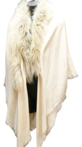 Fendi Fendi Light Pink/Blush Wool/Silk Blend FF Print Beige Fur Trim Shawl