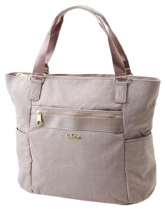 Kipling Gym Weekender Leather Patent Leather Tote in Taupe