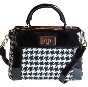 Kate Spade Patent Leather Houndstooth Satchel in black and white