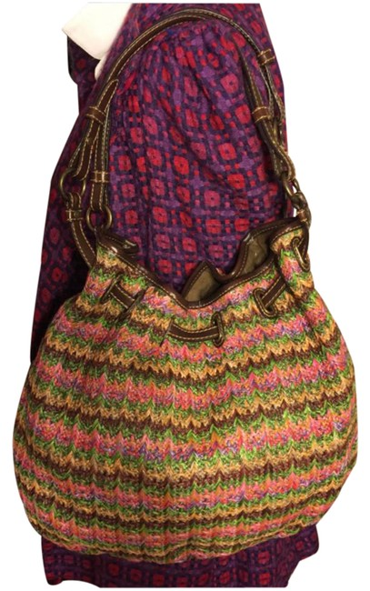 """Item - Large Multi-color Chevron Print Woven with Dark Straps/Trim Brown/Green/Pink/Coral Leather/ Manmade Waxed """"Straw"""" Hobo Bag"""