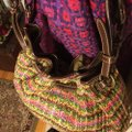 """Fossil Large Multi-color Chevron Print Woven with Dark Straps/Trim Brown/Green/Pink/Coral Leather/ Manmade Waxed """"Straw"""" Hobo Bag Fossil Large Multi-color Chevron Print Woven with Dark Straps/Trim Brown/Green/Pink/Coral Leather/ Manmade Waxed """"Straw"""" Hobo Bag Image 12"""