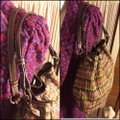 """Fossil Large Multi-color Chevron Print Woven with Dark Straps/Trim Brown/Green/Pink/Coral Leather/ Manmade Waxed """"Straw"""" Hobo Bag Fossil Large Multi-color Chevron Print Woven with Dark Straps/Trim Brown/Green/Pink/Coral Leather/ Manmade Waxed """"Straw"""" Hobo Bag Image 3"""