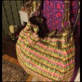"""Fossil Large Multi-color Chevron Print Woven with Dark Straps/Trim Brown/Green/Pink/Coral Leather/ Manmade Waxed """"Straw"""" Hobo Bag Fossil Large Multi-color Chevron Print Woven with Dark Straps/Trim Brown/Green/Pink/Coral Leather/ Manmade Waxed """"Straw"""" Hobo Bag Image 4"""