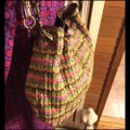 """Fossil Large Multi-color Chevron Print Woven with Dark Straps/Trim Brown/Green/Pink/Coral Leather/ Manmade Waxed """"Straw"""" Hobo Bag Fossil Large Multi-color Chevron Print Woven with Dark Straps/Trim Brown/Green/Pink/Coral Leather/ Manmade Waxed """"Straw"""" Hobo Bag Image 5"""