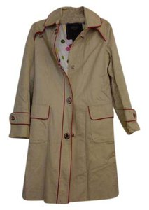 Coach Leather Trim Polka Dot Lining Raincoat