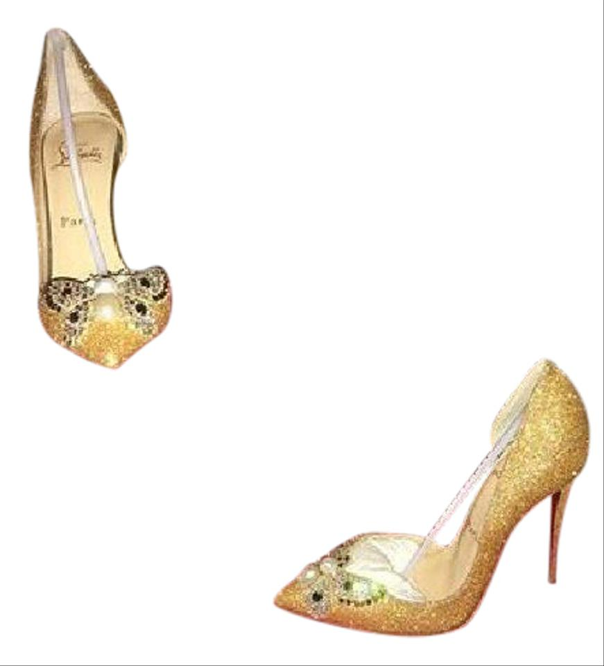 bb38f9d1aba Christian Louboutin Gold Bridal Butterfly Formal Shoes Size US 6 ...