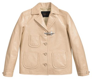 Coach Fireman's Patent Leather Sand Leather Jacket