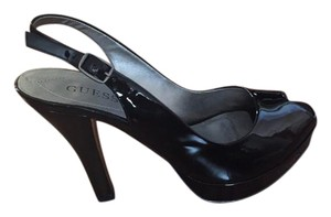 Guess Peep Toe Slingback Black Platforms