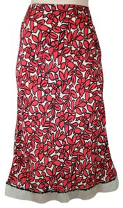 Louis Vuitton Floral Silk Ruffle Sequin Red Skirt RED, BLACK, WHITE