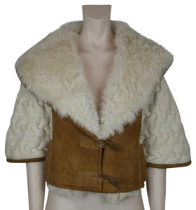 Oscar de la Renta Shearling Tobacco Cashmere Cropped BROWN, CREAM, IVORY Leather Jacket