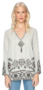 Johnny Was Embroidered Longsleeve Keyhole Cotton Boho Tunic
