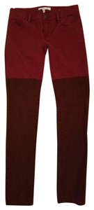 BCBGeneration Two-tone Color-blocking Bcbg Maroon Skinny Pants Red, Maroon
