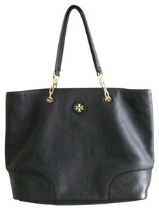 Tory Burch Pebbled Double T Top Handle Logo Tote in Black