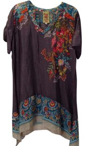 Johnny Was Floral Short Sleeves Arched Hem V-neck Silk Tunic