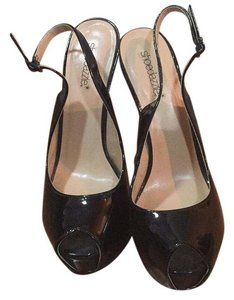 ShoeDazzle Black/ Gloss Platforms