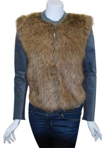 Twelfth St. by Cynthia Vincent Street Faux Fur Leather Brown Jacket