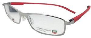 TAG Heuer New TAG HEUER Eyeglasses TH 0804 005 57-16 Silver Red & Black w/ Clear
