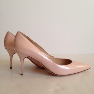 Manolo Blahnik Patent Navy Brand New Pink Pumps