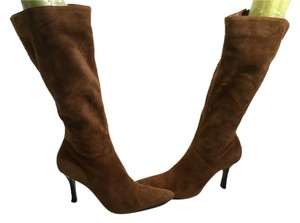 Diba Full Zippers Brown suede leather stretch gusset knee Boots
