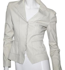 Tahari cream Leather Jacket