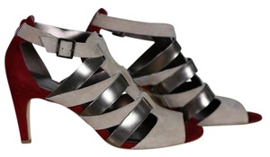 Calvin Klein Strappy Red/Beige/Gold Suede & Leather Sandals