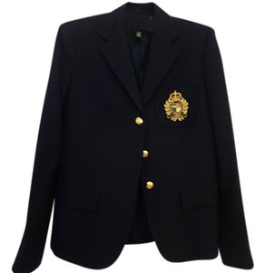 Ralph Lauren Wool Gold Buttons Lightweight Collegiate Navy Blue Blazer