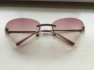 Chanel Pink gradation lens silver metallic sunglasses