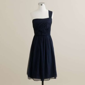 J.Crew Newport Navy Silk Chiffon Lucienne Formal Bridesmaid/Mob Dress Size 4 (S)
