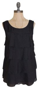 J.Crew Silk Tiered Crepe Top BLACK
