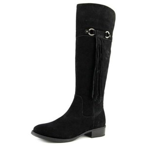INC International Concepts Suede Fringe Leather Black Boots