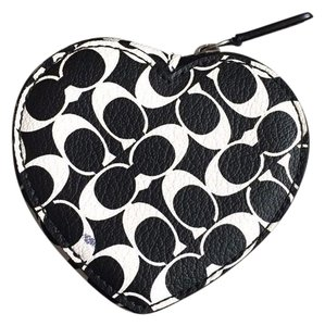 Coach Black and White Logo Heart Coin Purse