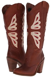 Jessica Simpson Leather Cowgirl Brown Vintage Glitter New Luggage Combo Boots