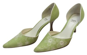 Impo Size 8.50 M Leather Soles Very Good Condition Green, White Pumps