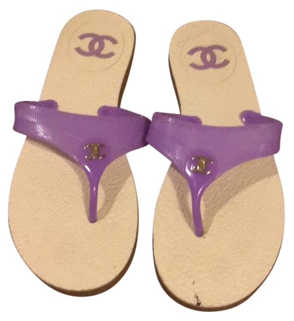 Chanel Purple White Accent Chic Sandals Size US 8 Regular (M, B) Chanel Purple White Accent Chic Sandals Size US 8 Regular (M, B) Image 1