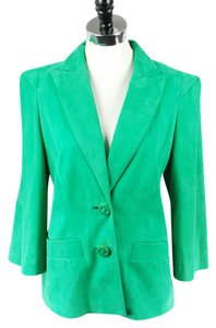 Escada Style Suede Green Leather Jacket