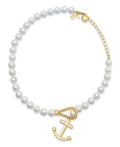 Kate Spade Gold-Tone Imitation Pearl Anchor Pendant Necklace