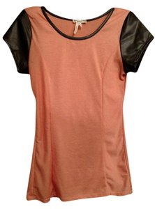 PacSun Tee Faux Leather Top Orange