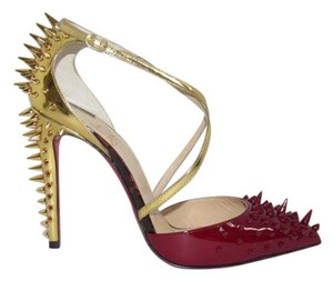 Christian Louboutin Goldocross Patent Spiked Red Sole 100 Mm Crimson Gold Pumps