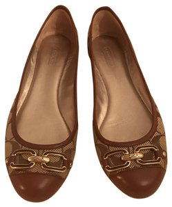 Coach Tan and Gold Flats